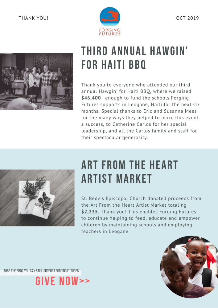 Thank you to everyone who contributed to making our third annual Hawgin' for Haiti BBQ a success or supported Forging Futures through the Art From the Heart Artist Market.